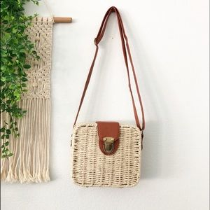 Woven Rattan Basket Bag Purse